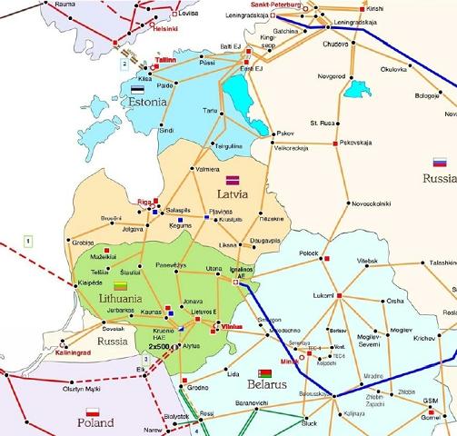 Пояснения к схеме.  1. Литва - Швеция, кабель постоянного тока 1000 МВт.